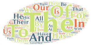 Wortwolke der amerikanischen Unabhängigkeitserklärung – erstellt mit Tagul. Allerdings wurden hier häufige englische Wörter nicht entfernt.