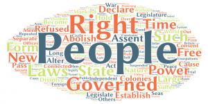 Wortwolke der amerikanischen Unabhängigkeitserklärung – erstellt mit Tagul. Erst wenn häufige englische Wörter herausgefiltert werden, erscheinen die zentralen Themen des Textes.