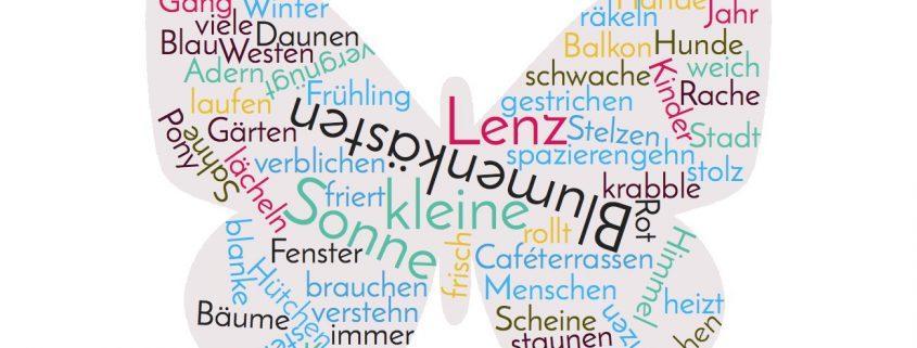Wordcloud aus Erich Kästners Gedicht 'Besagter Lenz ist da'