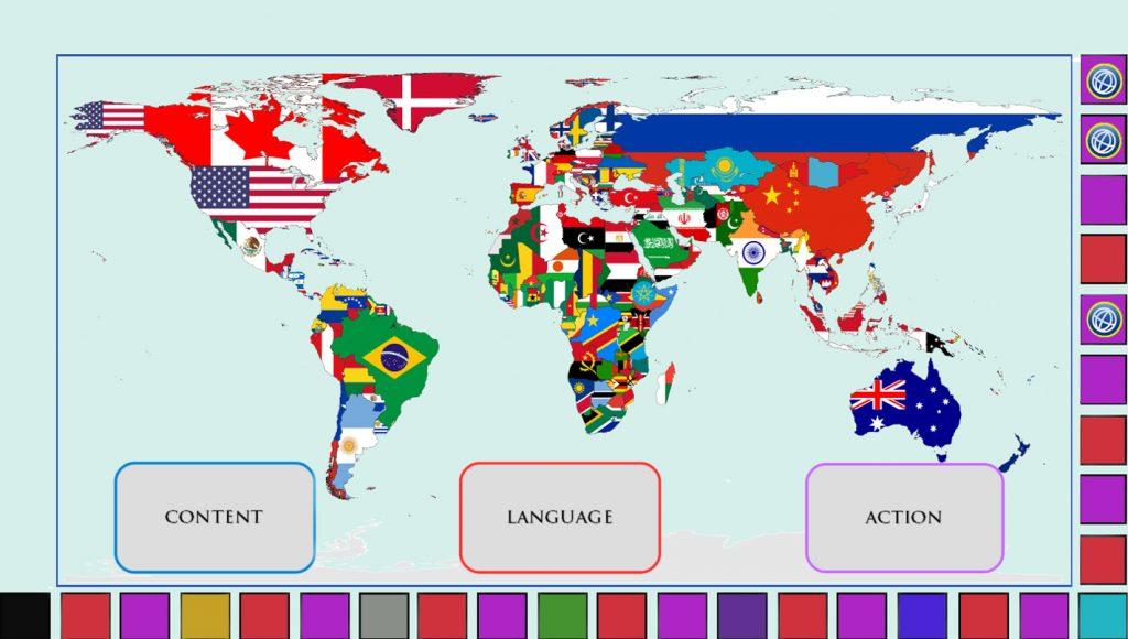 Der Spielplan leitet die Arbeit mit Sprach-, Themen- und Sprechanlasskarten.