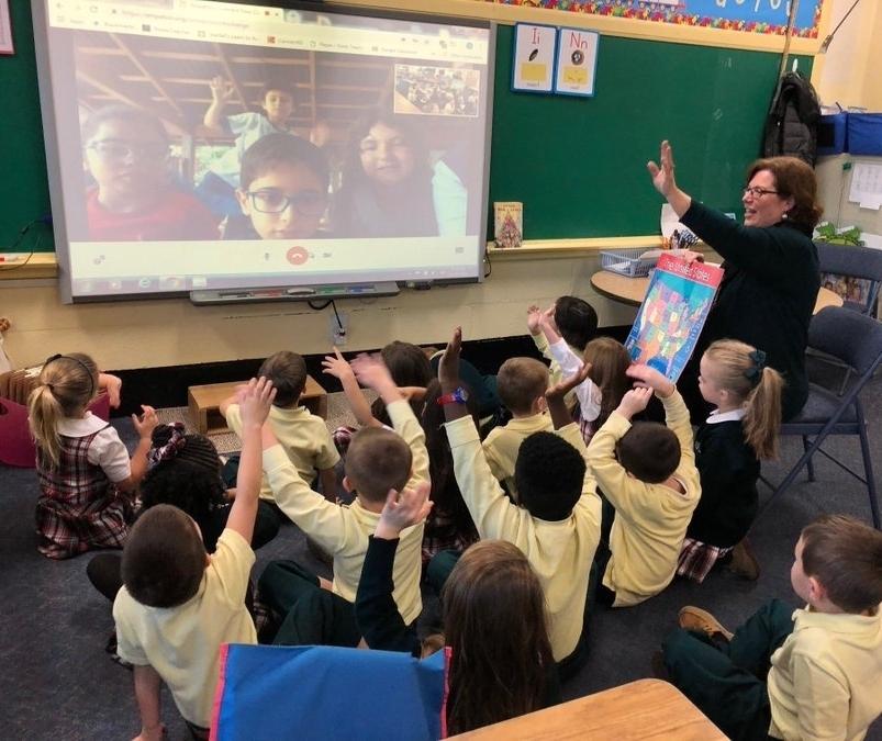 Begegnung beim Videocall (Foto: Monsignor Slade Catholic School)