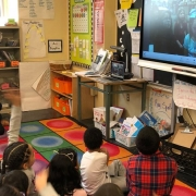 Gegenseitiges Beschnuppern beim Videocall (Foto: Primary School 142 Lower East Side, Manhattan)