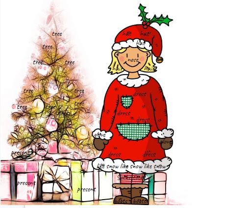 In dieser weihnachtlichen Illustration ist Wortschatz versteckt.