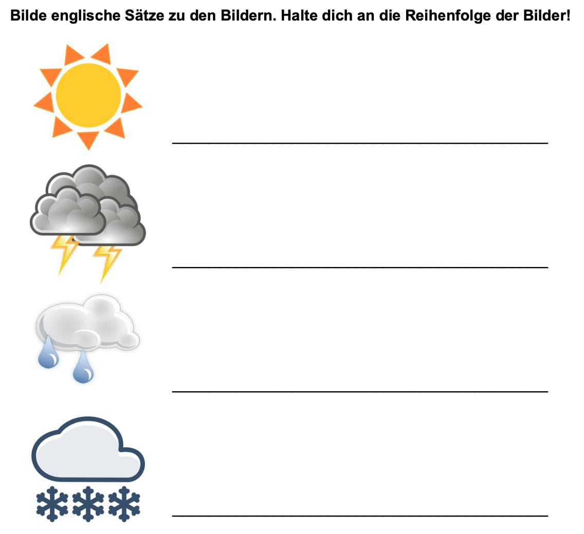 Arbeitsauftrag: Englische Sätze über das Wetter bilden
