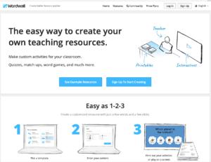 Startseite der Browser-App Wordwall